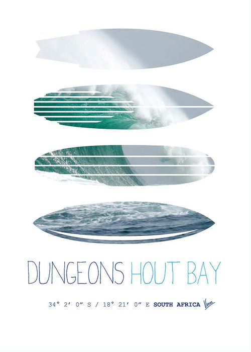 Minimal Greeting Card featuring the digital art My Surfspots Poster-4-dungeons-cape-town-south-africa by Chungkong Art