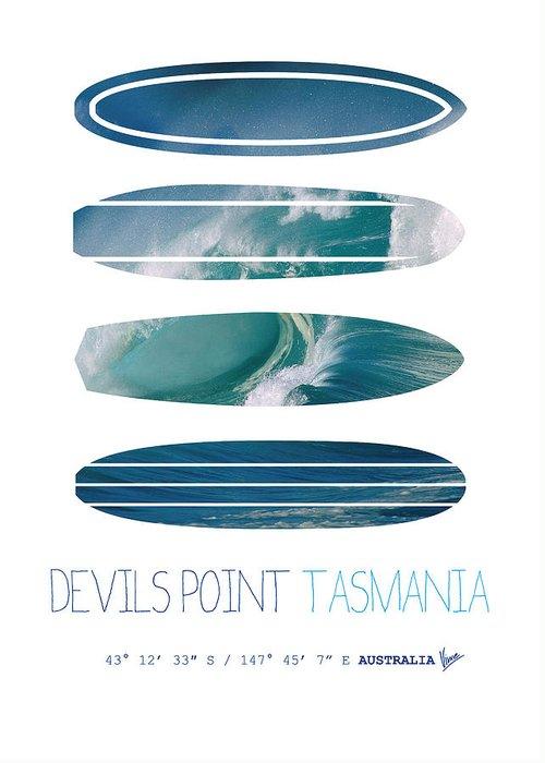 Minimal Greeting Card featuring the digital art My Surfspots Poster-5-devils-point-tasmania by Chungkong Art