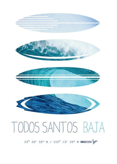 Mexico Greeting Card featuring the digital art My Surfspots Poster-6-todos-santos-baja by Chungkong Art