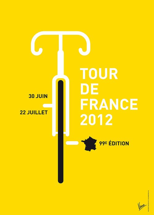 2012 Greeting Card featuring the digital art My Tour De France 2012 Minimal Poster by Chungkong Art