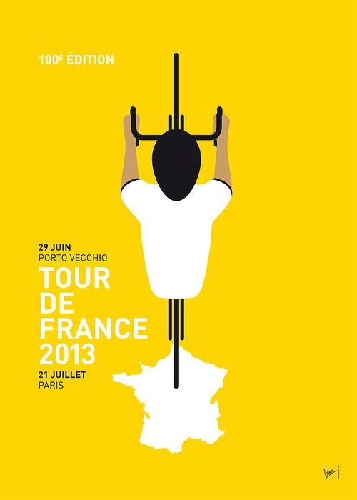 Cycling Greeting Card featuring the digital art My Tour De France Minimal Poster by Chungkong Art