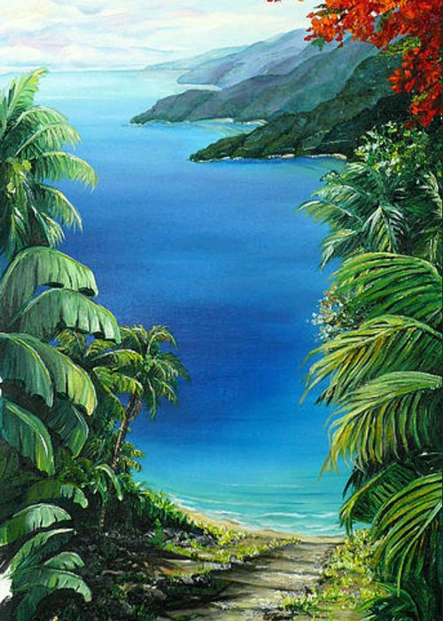 Tropical Painting Caribbean Painting Sea Scape Painting Seaview Painting Flamboyant Painting  Island Painting  Greeting Card featuring the painting My View by Karin Dawn Kelshall- Best