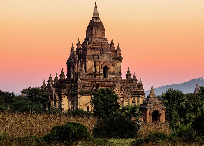 Non-urban Scene Greeting Card featuring the photograph Myanmar, Bagan, Ancient Temple At by Martin Puddy
