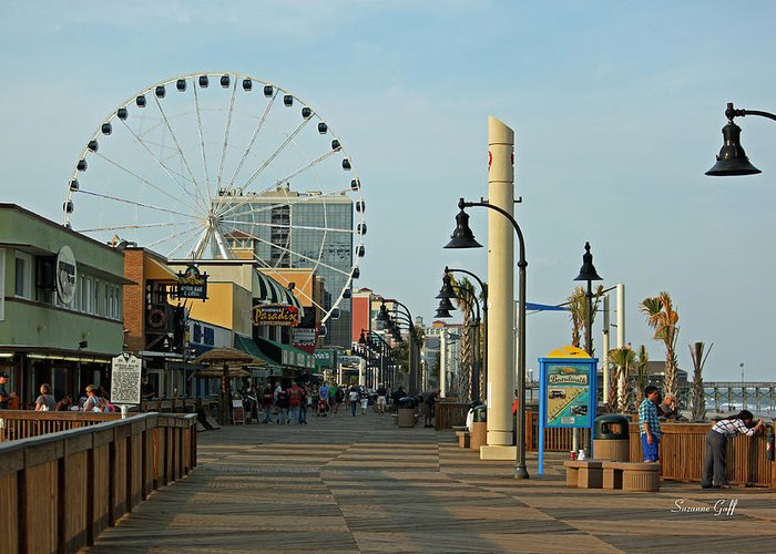 Myrtle Beach Greeting Card featuring the photograph Myrtle Beach Boardwalk by Suzanne Gaff