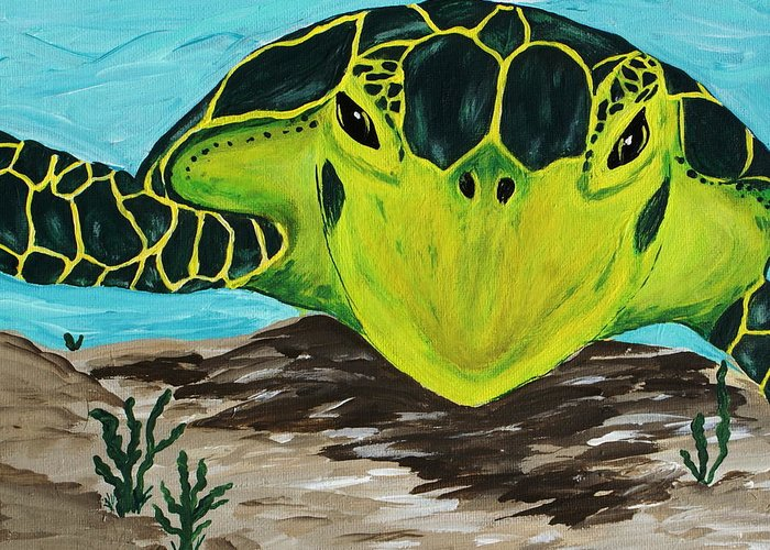 Turtle Greeting Card featuring the painting Myrtle by Debbie May