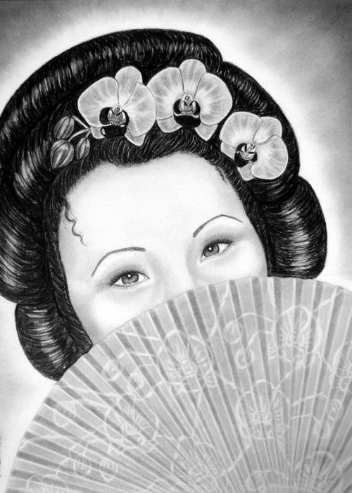 Geisha Greeting Card featuring the drawing Mysterious - Geisha Girl With Orchids And Fan by Nicole I Hamilton