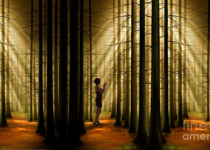 Landscape Greeting Card featuring the digital art Mysterious Wood by Bedros Awak
