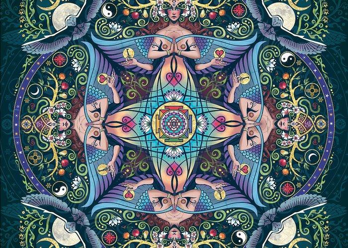 Mandala Greeting Card featuring the digital art Mystery by Cristina McAllister