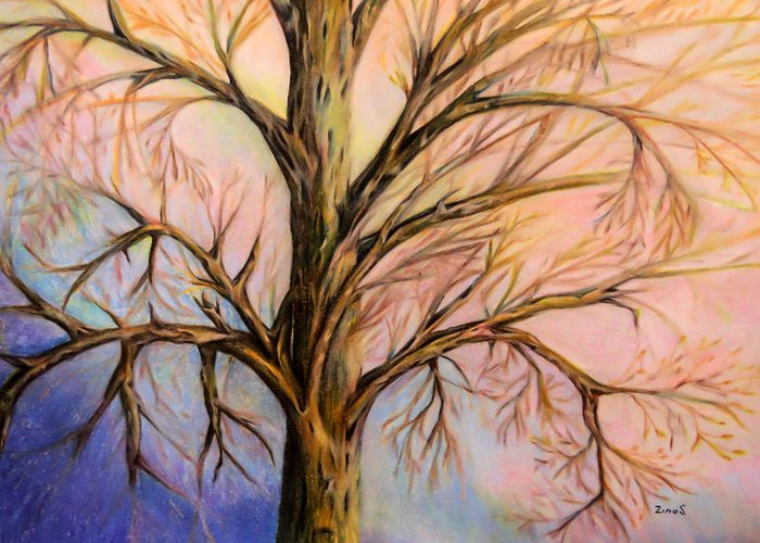 Mystery Tree Greeting Card featuring the drawing Mystery Tree by Zina Stromberg