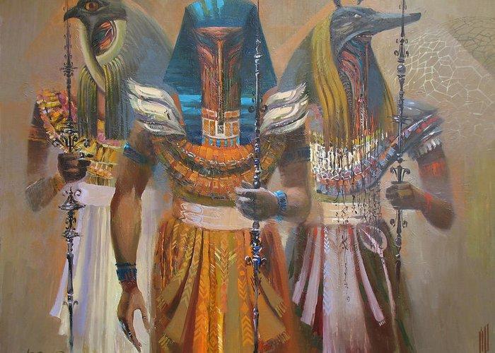 Egypt Greeting Card featuring the painting Mystery by Valentina Kondrashova