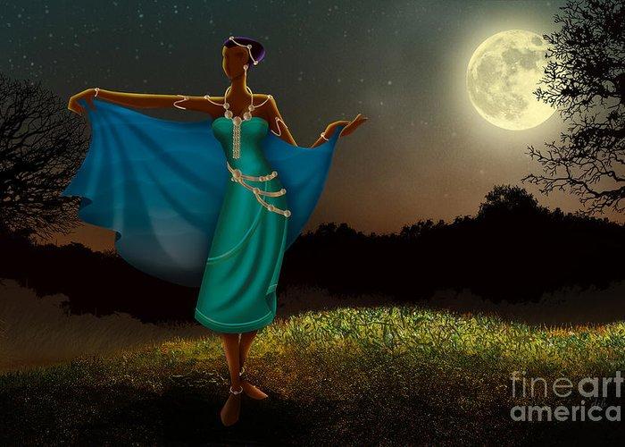 Mystic Greeting Card featuring the digital art Mystic Moonlight V1 by Bedros Awak