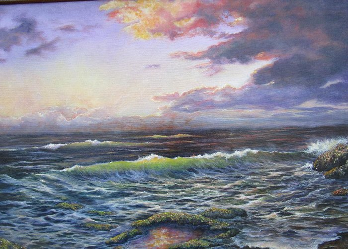 Seascape Greeting Card featuring the painting Mystic Morn by Carol Bitz