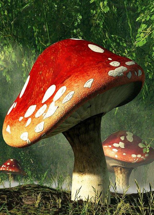 Mushroom Greeting Card featuring the digital art Mystic Mushroom by Daniel Eskridge