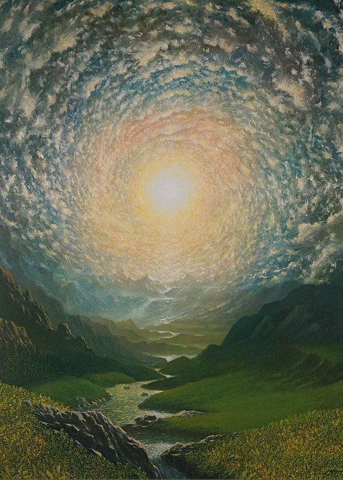 Sun Greeting Card featuring the painting Mystic Valley by Karma Moffett