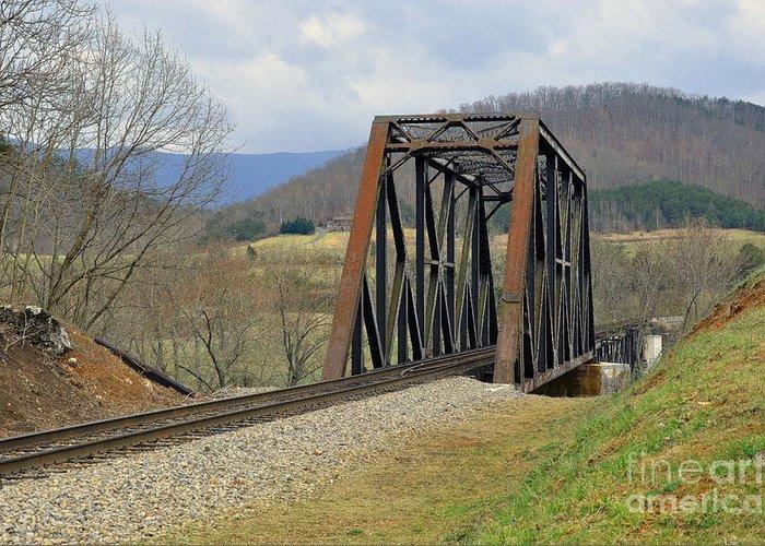 Tracks Greeting Card featuring the photograph N W Railroad Trestle by Brenda Dorman