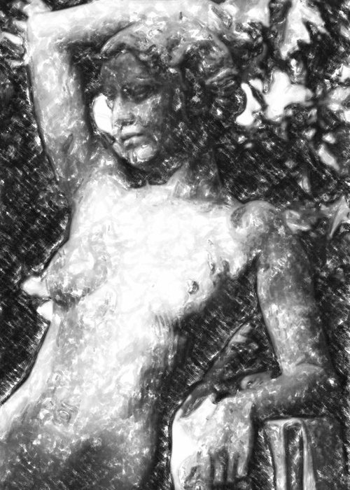 Ancient Greeting Card featuring the mixed media Naked Woman by Tommytechno Sweden