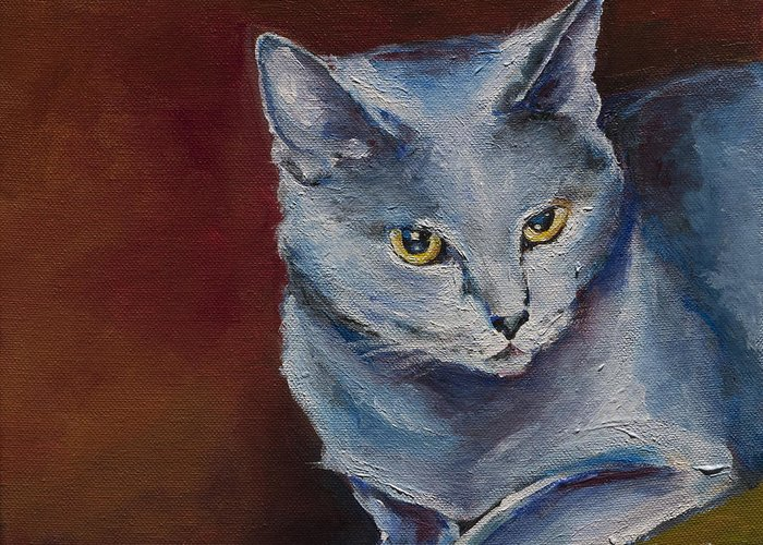 Cat Portrait Greeting Card featuring the painting Nala by Julie Dalton Gourgues