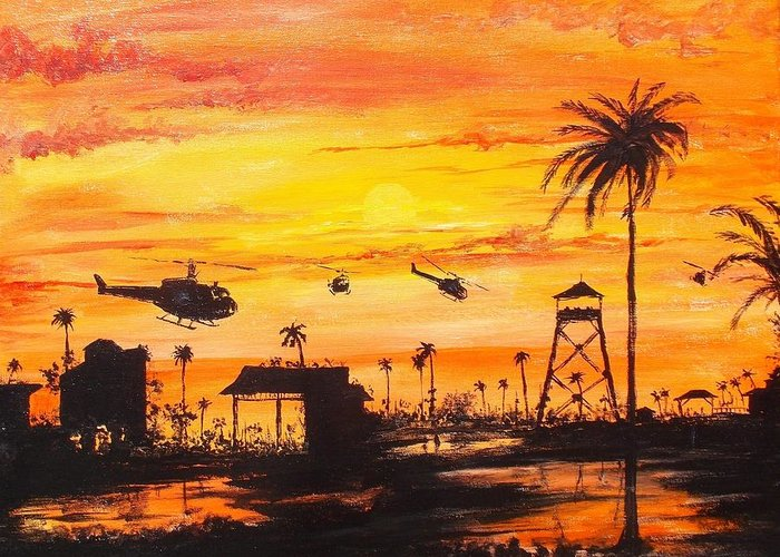 Sunset Greeting Card featuring the painting Nam by Walter Carrick