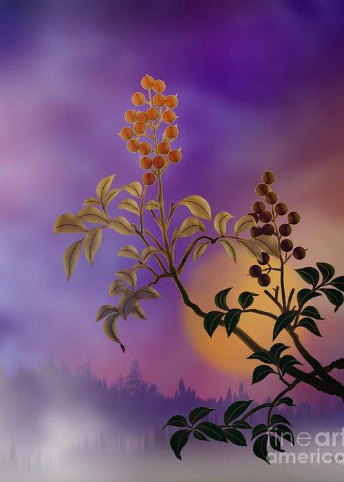 Nature Greeting Card featuring the digital art Nandina The Beautiful by Bedros Awak