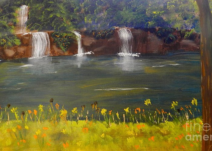 Impressism Greeting Card featuring the painting Nandroy Falls In Queensland by Pamela Meredith