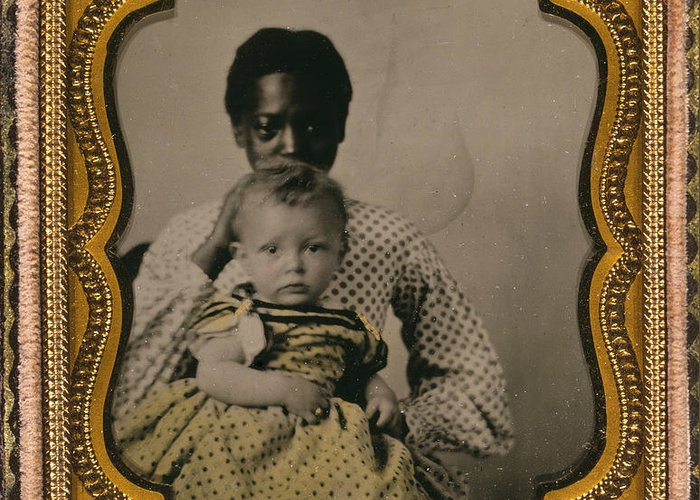 1855 Greeting Card featuring the photograph Nanny And Child, C1855 by Granger