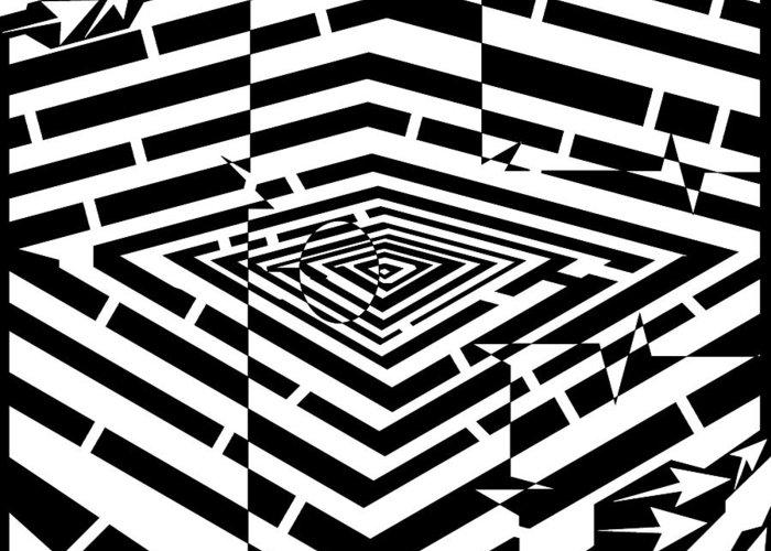 Nano Greeting Card featuring the drawing Nano Curcuits Maze by Yonatan Frimer Maze Artist