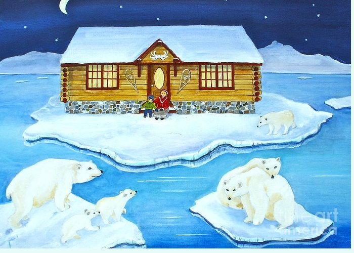 Nanook Greeting Card featuring the painting Nanook Of The North by Virginia Ann Hemingson
