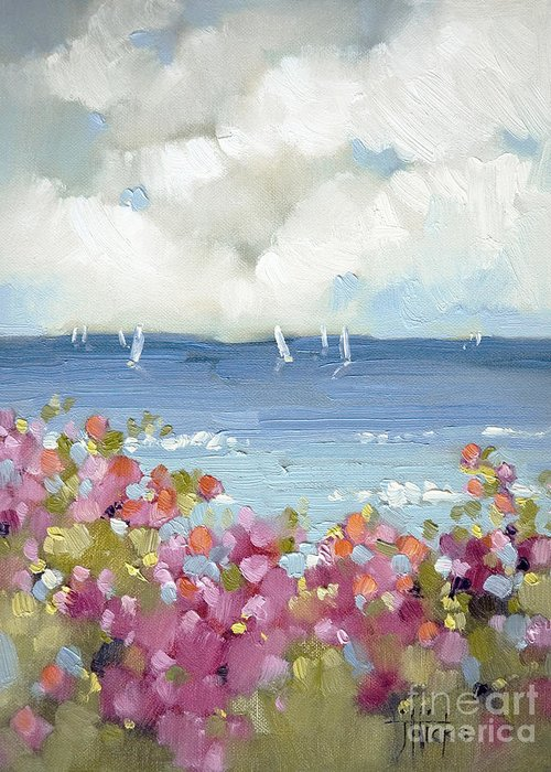 Nantucket Greeting Card featuring the painting Nantucket Sea Roses by Joyce Hicks