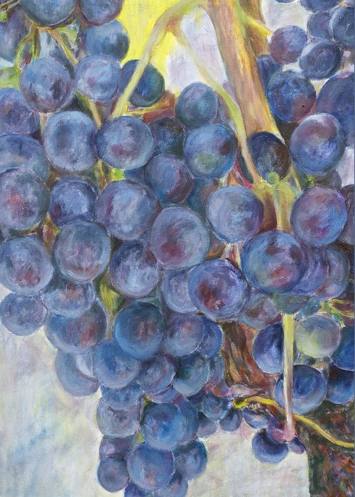 Grapes Greeting Card featuring the painting Napa Grapes 1 by Nick Vogel