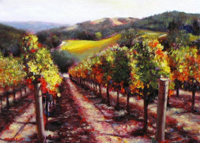 Wine Painting Greeting Card featuring the painting Napa Hill Side Vineyard by Takayuki Harada