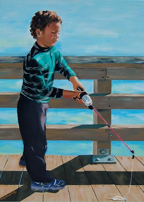 Fishing Greeting Card featuring the painting Naples Boy Fishing by Judy Swerlick