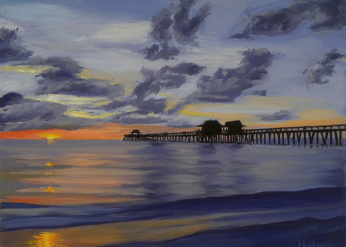 Christine Hopkins Greeting Card featuring the painting Naples Pier Naples Florida by Christine Hopkins