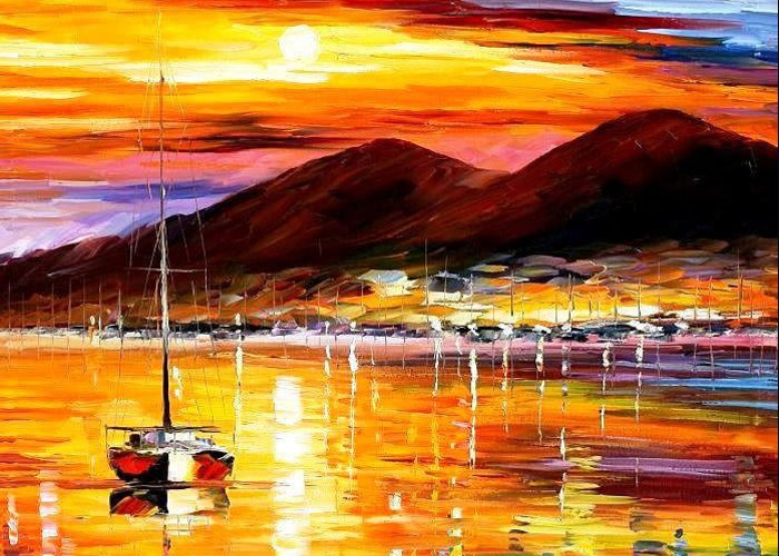 Art Gallery Greeting Card featuring the painting Naples-sunset Above Vesuvius - Palette Knife Oil Painting On Canvas By Leonid Afremov by Leonid Afremov
