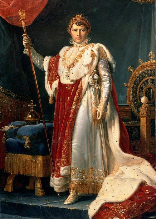 Emperor Greeting Card featuring the painting Napoleon Bonaparte by Francois Pascal Simon, Baron Gerard