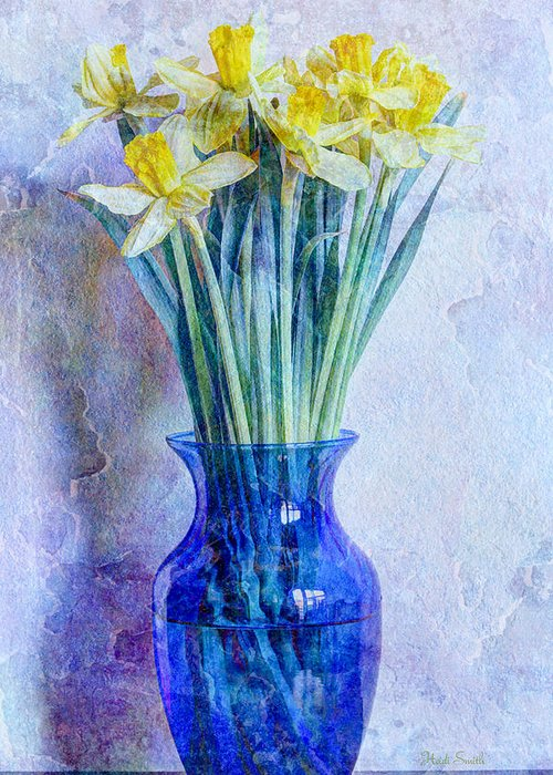 Blue Greeting Card featuring the photograph Narcissus by Heidi Smith