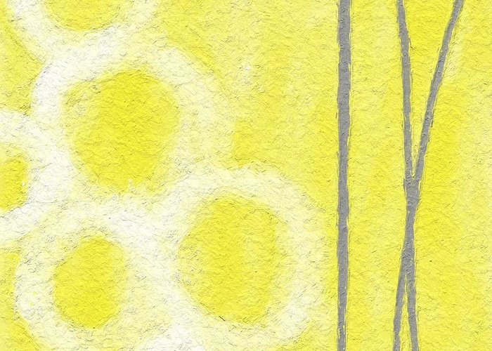 Yellow And Grey Abstract Art Greeting Cards