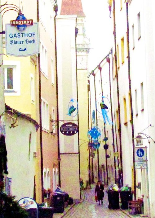 Passau Germany Greeting Card featuring the photograph Narrow Street In Passau Germany by Elaine Weiss