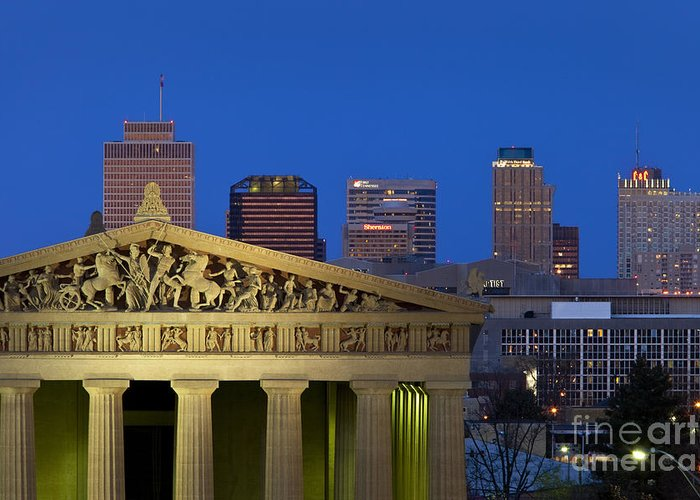 Parthenon Replica Greeting Card featuring the photograph Nashville Parthenon by Brian Jannsen