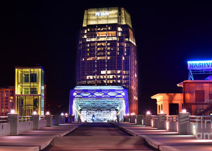 Nashville Greeting Card featuring the photograph Nashville Sight Night Skyline Pinnacle Panorama Color by Jon Holiday