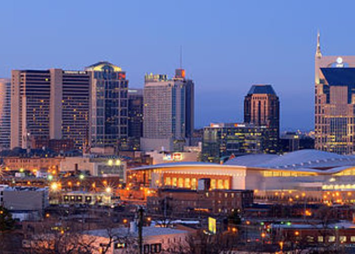 Nashville Greeting Card featuring the photograph Nashville Skyline At Dusk Panorama Color by Jon Holiday