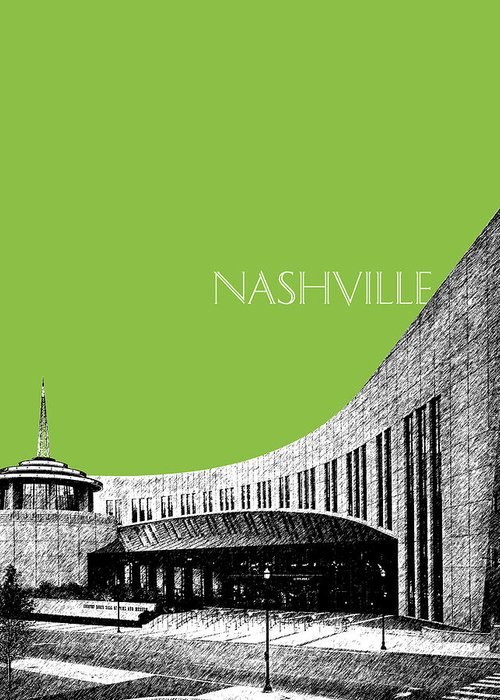 Architecture Greeting Card featuring the digital art Nashville Skyline Country Music Hall Of Fame - Olive by DB Artist