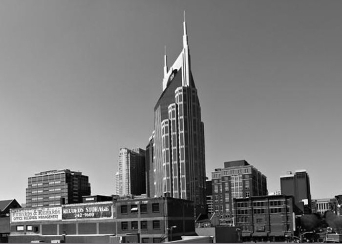 Nashville Tennessee Skyline Black And White Greeting Card featuring the photograph Nashville Tennessee Skyline Black And White by Dan Sproul