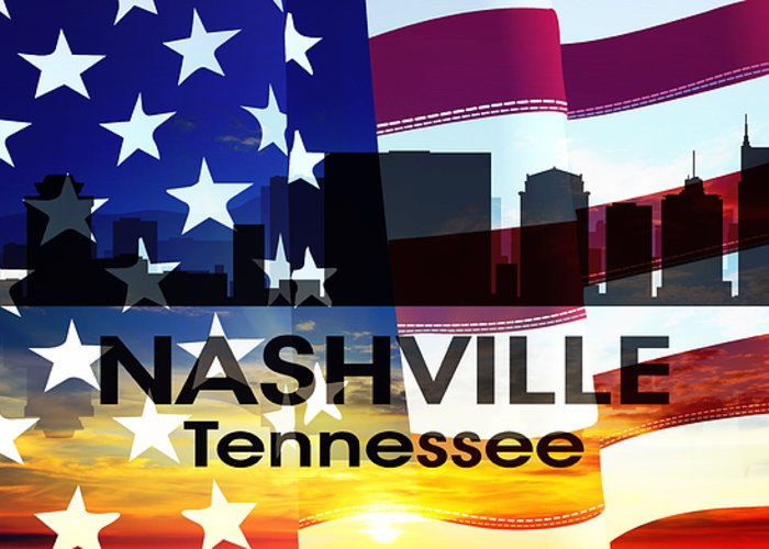 Tn Greeting Card featuring the mixed media Nashville Tn Patriotic Large Cityscape by Angelina Vick