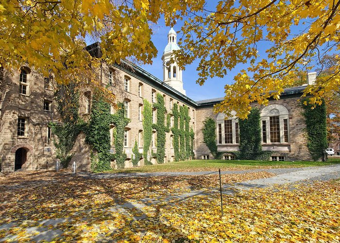 Architecture Greeting Card featuring the photograph Nassau Hall With Fall Foliage by George Oze