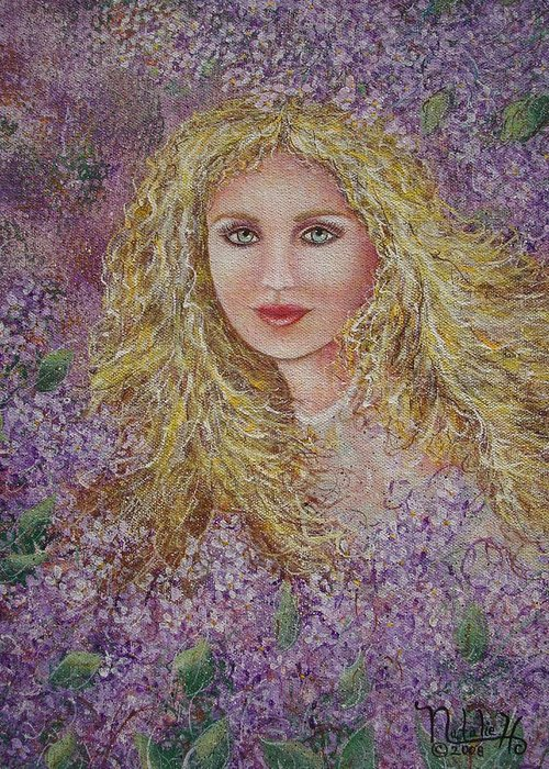 Portrait Greeting Card featuring the painting Natalie In Lilacs by Natalie Holland