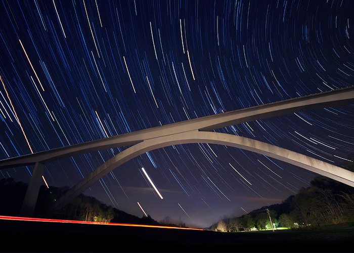 Natchez Trace Greeting Card featuring the photograph Natchez Trace Bridge At Night by Malcolm MacGregor