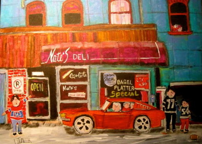 Ottawa Greeting Card featuring the painting Nate's Deli Ottawa by Michael Litvack