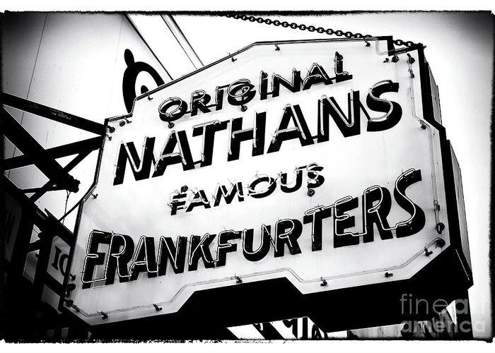 Nathans Famous Frankfurters Greeting Card featuring the photograph Nathans Famous Frankfurters by John Rizzuto