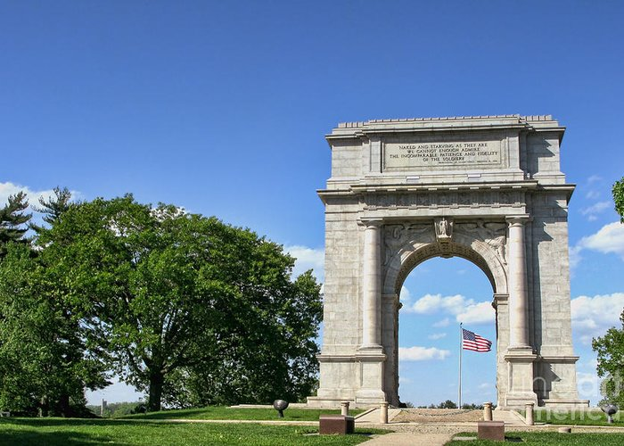Valley Forge Greeting Card featuring the photograph National Memorial Arch At Valley Forge by Olivier Le Queinec