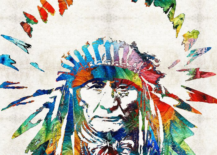Native American Greeting Card featuring the painting Native American Art - Chief - By Sharon Cummings by Sharon Cummings